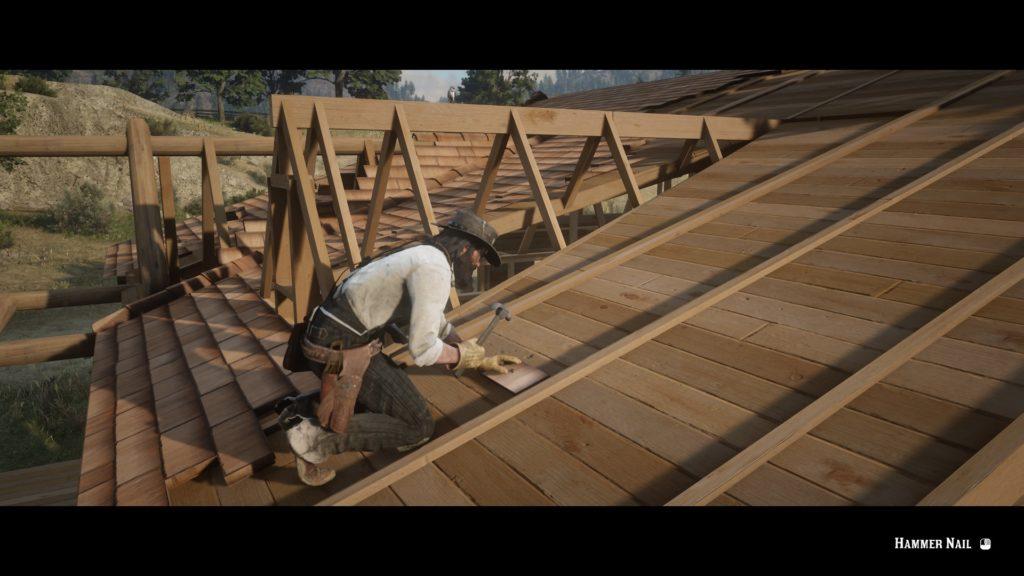 John Marston builds a house.